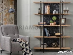 قفسه کتاب چوب و فلز