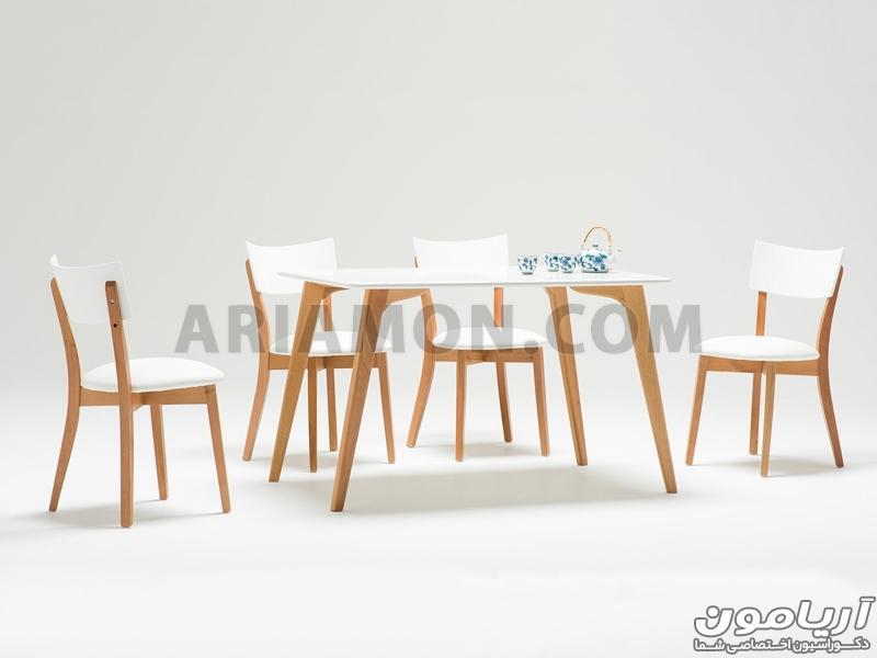میز ناهار خوری چوبی مستطیل سفید
